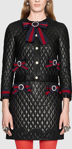 Bow-Embellished Black Diamond Quilted Jacket & Skirt Set *Very Low stock*