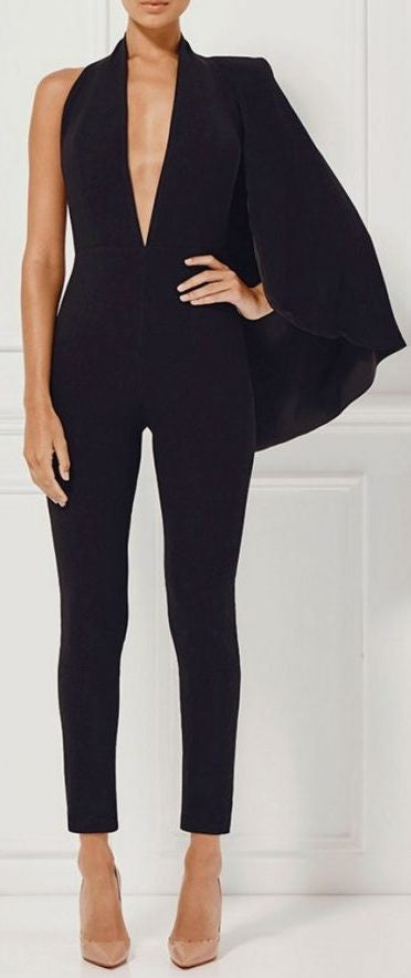 Black Half-Cape Jumpsuit - DESIGNER INSPIRED FASHIONS