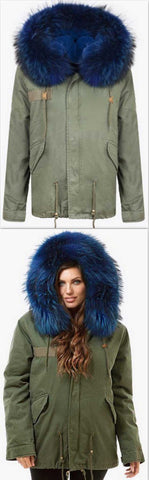 Army-Green Fur Parka Jacket-Blue Fur | DESIGNER INSPIRED FASHIONS