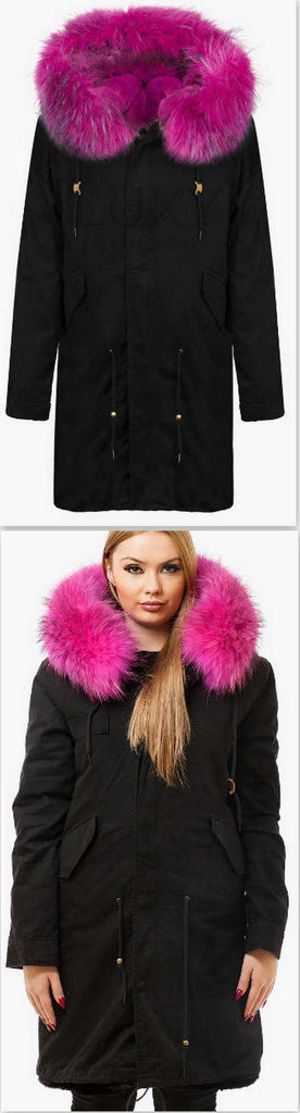 Black Fur Parka Coat-Fuchsia Pink Fur - DESIGNER INSPIRED FASHIONS
