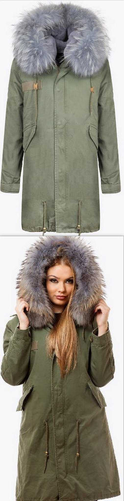Army-Green Fur Parka Coat-Grey Fur - DESIGNER INSPIRED FASHIONS