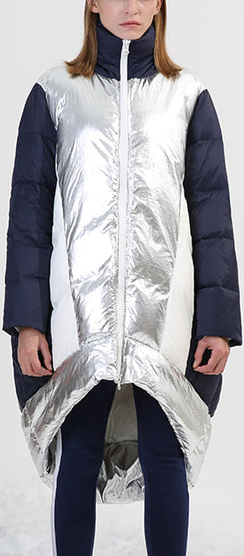 Asymmetrical Metallic Color-Contrast Puffer Coat