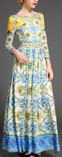 Lemon & Tile Print Maxi Dress - DESIGNER INSPIRED FASHIONS