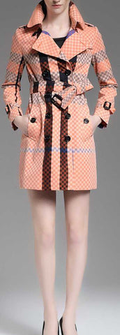 Checkered Check Print Short Trench Coat