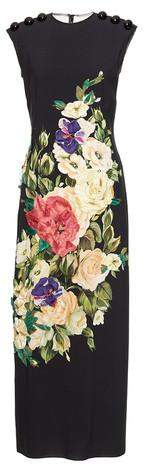 Black Floral Appliques Sleeveless Midi Dress - DESIGNER INSPIRED FASHIONS