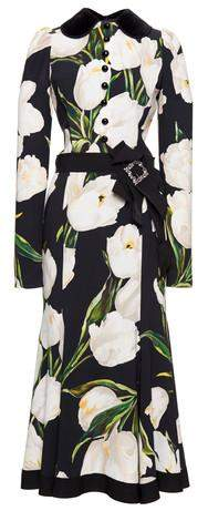 Belted Tulip Print Dress - DESIGNER INSPIRED FASHIONS