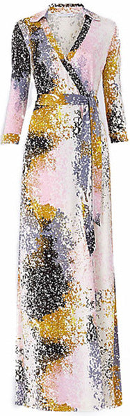 Abstract Paint Maxi Wrap Dress
