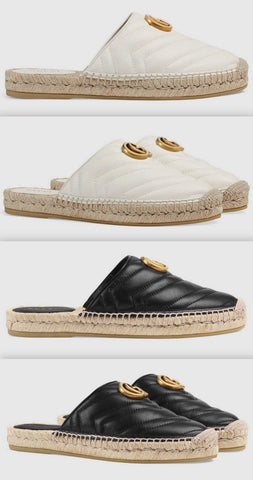 Leather Espadrille with Double G - White or Black | DESIGNER INSPIRED FASHIONS