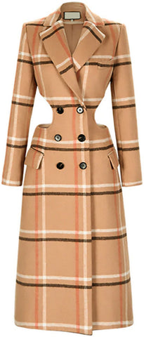 Cut-Out Check Trench Coat | DESIGNER INSPIRED FASHIONS
