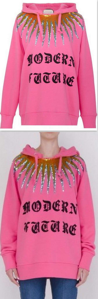 'Modern Future' Embellished Cotton Sweatshirt
