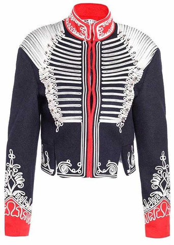 Cropped Embroidered Military Jacket