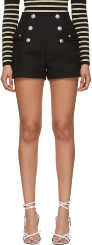 Button-Embellished Shorts, Black