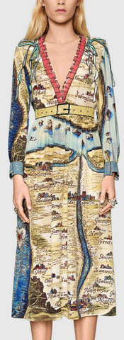 'Carte De Tendre' Map Printed Sequin Embellished Midi Dress - DESIGNER INSPIRED FASHIONS