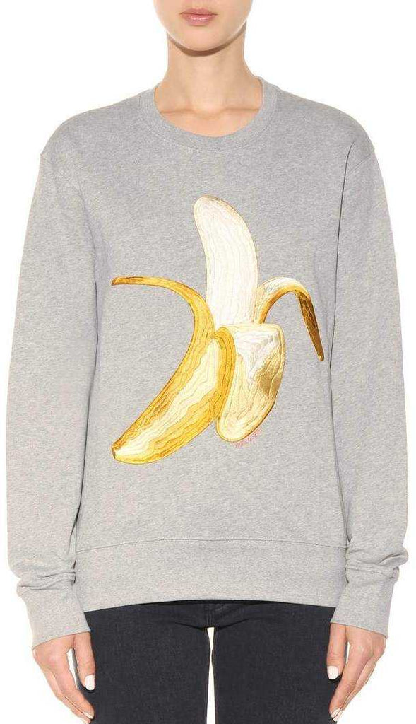 'Carly' Banana-Embroidered Cotton Sweatshirt - Grey, Navy Blue or Black - DESIGNER INSPIRED FASHIONS