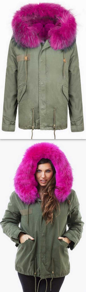 Army-Green Fur Parka Jacket-Fuchsia Fur - DESIGNER INSPIRED FASHIONS