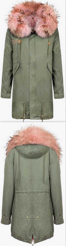 Army-Green Fur Parka Coat-Pink Fur - DESIGNER INSPIRED FASHIONS