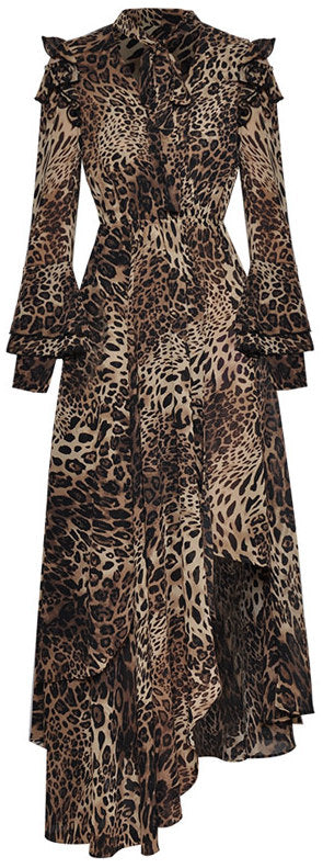Asymmetrical Leopard Print Dress