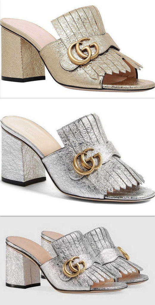 d3288eb142ea8e GG Marmont Metallic Crackle-Leather Mules