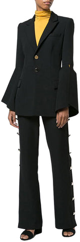 Flared-Sleeve Jacket and Button-Embellished Flared Pant Set | DESIGNER INSPIRED FASHIONS