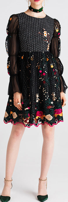 Balloon-Sleeve Embroidered Dress