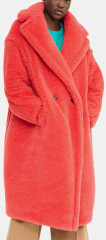 Teddy Icon Coat, Coral Red | DESIGNER INSPIRED FASHIONS