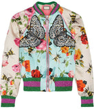 'Butterfly Applique' Printed Bomber Jacket - DESIGNER INSPIRED FASHIONS