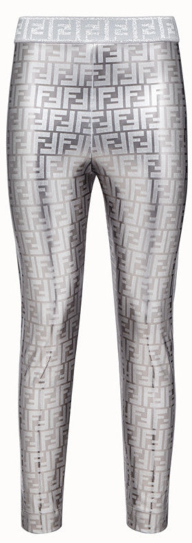 FF Logo Metallic Stretch Leggings | DESIGNER INSPIRED FASHIONS