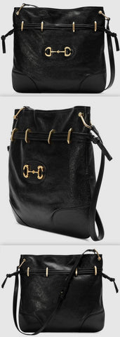 1955 Horsebit Messenger Bag, Black | DESIGNER INSPIRED FASHIONS