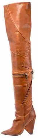 'Niki' Leather Zip Over-The-Knee Boot