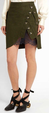 Utility Twill and Lace Mini Skirt - DESIGNER INSPIRED FASHIONS