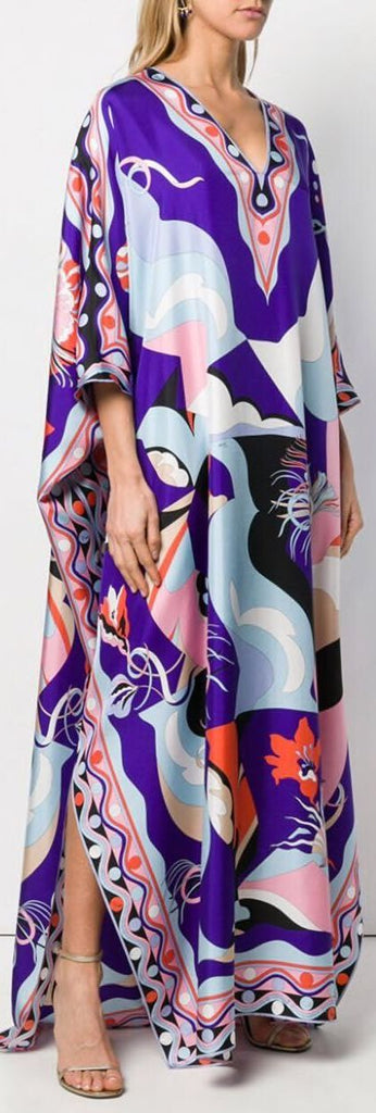 Printed Silk V-Neck Kaftan Dress | DESIGNER INSPIRED FASHIONS