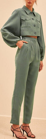 Cropped Utility Long Sleeve Top and Pant Set - Green or Pink | DESIGNER INSPIRED FASHIONS