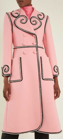 Crystal-Embellished Double-Breasted Coat, Pink
