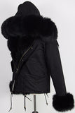 Black Fox Fur Parka Jacket - DESIGNER INSPIRED FASHIONS