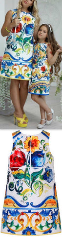 'Majolica' Tile Printed Mother & Daughter Matching Dresses - DESIGNER INSPIRED FASHIONS