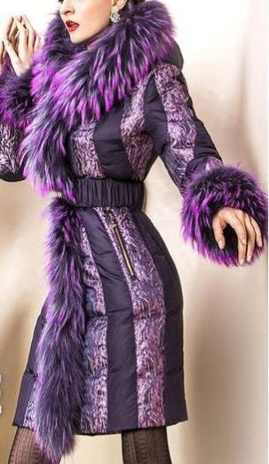 Belted Fur-Trimmed Down Coat in Purple - DESIGNER INSPIRED FASHIONS