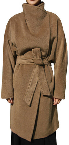 Camel Oversized Collar Wool & Cashmere Coat | DESIGNER INSPIRED FASHIONS