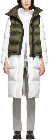 Down Jacket with Down Waist Coat, White/Green | DESIGNER INSPIRED FASHIONS