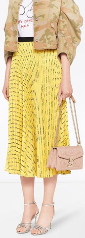 Pleated Logo and Floral Print Skirt, Yellow | DESIGNER INSPIRED FASHIONS