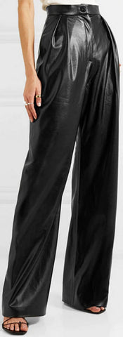 Pleated Wide-Leg Faux-Leather Pants | DESIGNER INSPIRED FASHIONS