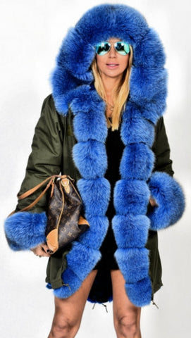 Army Parka Military Parka Coat with Fox Fur-Army/Olive Green & Blue | DESIGNER INSPIRED FASHIONS