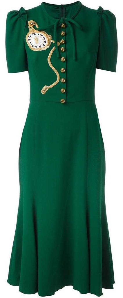 Beaded Clock Appliqué Dress in Green - DESIGNER INSPIRED FASHIONS