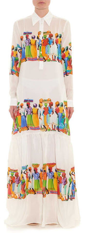 'Basilisco' Printed Maxi Dress in White - DESIGNER INSPIRED FASHIONS