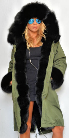 Army Parka Military Parka Coat with Fox Fur-Army/Olive Green & Black - DESIGNER INSPIRED FASHIONS