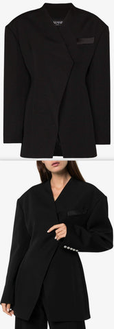 Exaggerated Shoulder Single-Breasted Blazer | DESIGNER INSPIRED FASHIONS