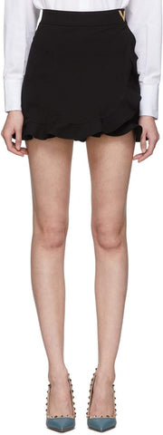 Black Jersey Ruffle Shorts