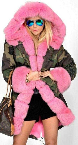 Army Parka Military Camouflage Parka Coat with Fox Fur-Pink | DESIGNER INSPIRED FASHIONS