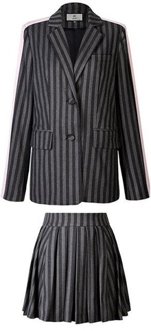 Contrast-Stripe Blazer and Pleated Skirt Set | DESIGNER INSPIRED FASHIONS