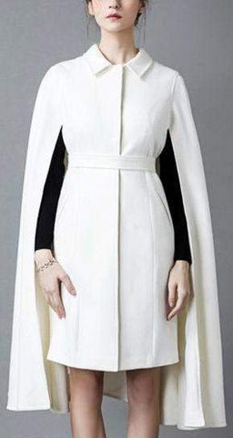 Belted White Cape-Coat - DESIGNER INSPIRED FASHIONS