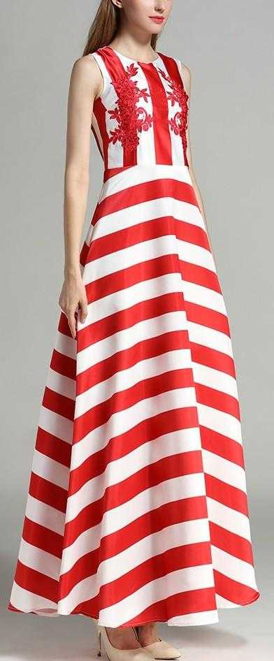 Embroidered Striped Sleeveless Maxi Dress - Red & White